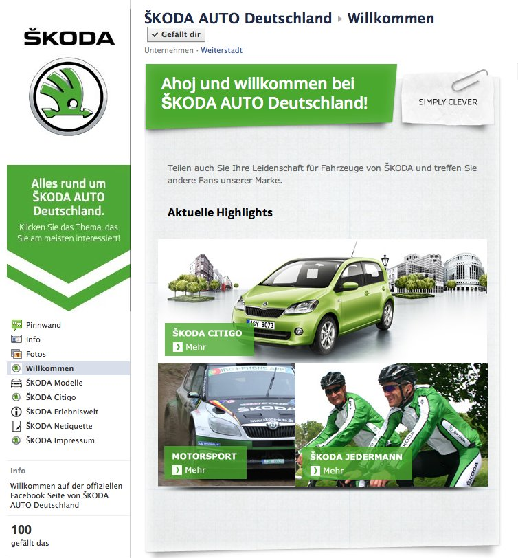 Skoda Auto Deutschland jetzt auch offiziell auf Facebook