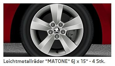 "Neue 15 Zoll Alufelgen ""Matone"""