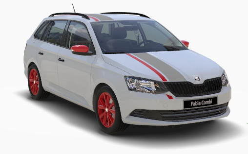 Fabia Combi Red Grey Laser Weiß