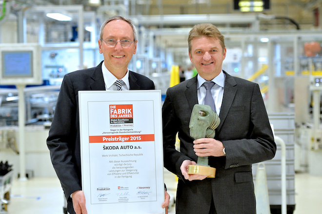 160309 SKODA Plant Receives 'Factory of the Year' Award' Produced in Vrchlabi